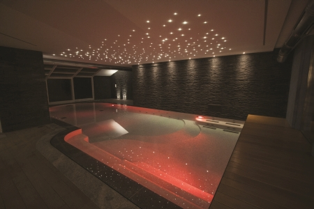 indoor pool with red light