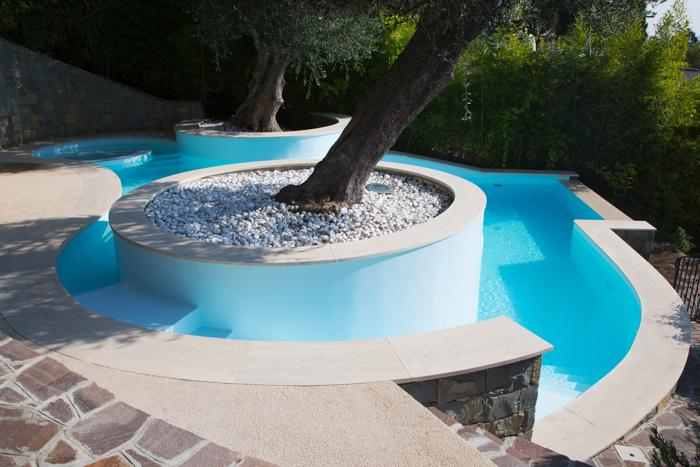 italian, pool, technology, olive, tree, free form,