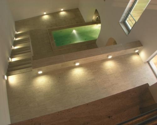italian pool made of travertine