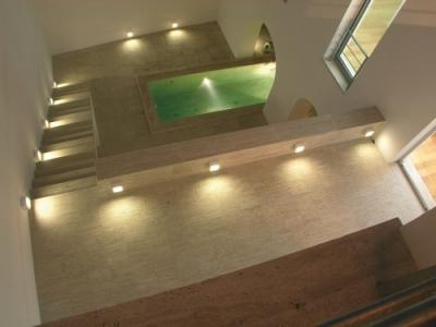 italian pool made of travertine